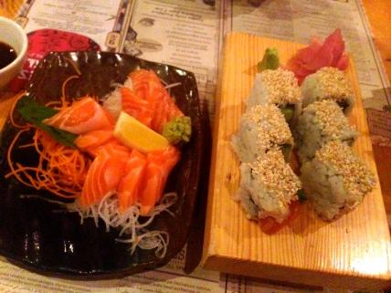 Philadelphia Roll sin freír y Sashimi
