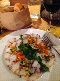 Carpaccio de Pulpo - Octopus carpaccio with courgettes and carrot casse