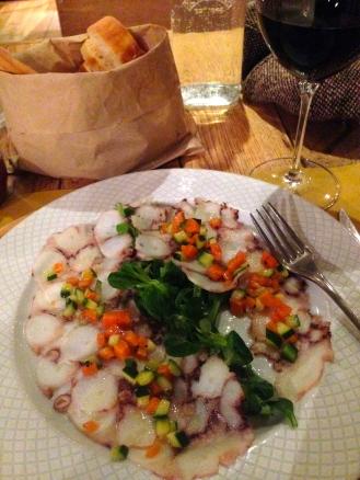 Carpaccio de Pulpo - Octopus carpaccio with courgettes and carrot casse